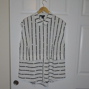 Alfani White + Black Striped Sleeveless Blouse Top